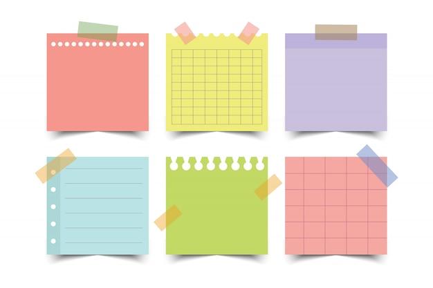 Set di documenti di nota colorati. illustrazione.