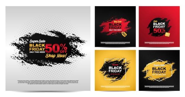 Impostare banner splash colorato dipinto per il design del modello venerdì nero