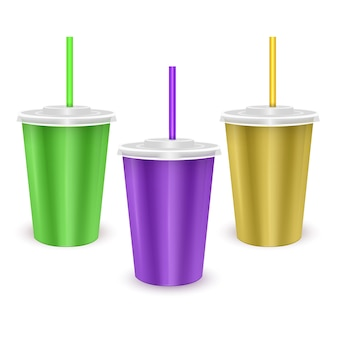 Set di bicchieri monouso in carta colorata con coperchio e cannuccia per bevande fredde cold
