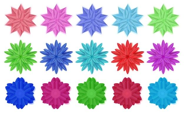 Set di fiori di carta colorati con ombre su bianco