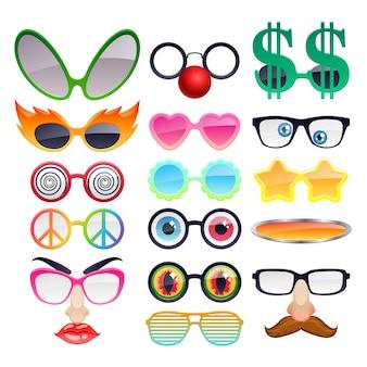 Set di icone di occhiali da sole partito colorato. accessori per occhiali moda divertenti.