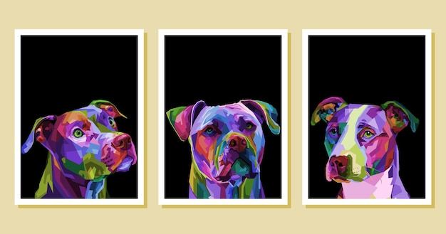 Set di coloratissimi pitbull terrier cane su pop art geometrica.