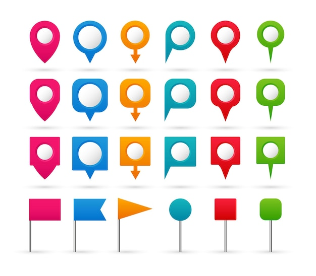Set di puntatori colorati. icone di navigazione e posizione.