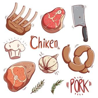 Set di carne cruda colorata e bistecca con stile di tiraggio della mano