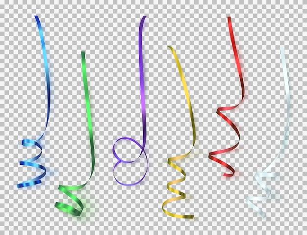 Set di nastri colorati su sfondo trasparente.