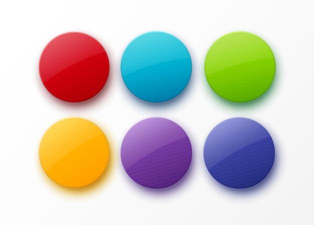 Set di distintivi lucidi rotondi colorati circondano forme vuote circle