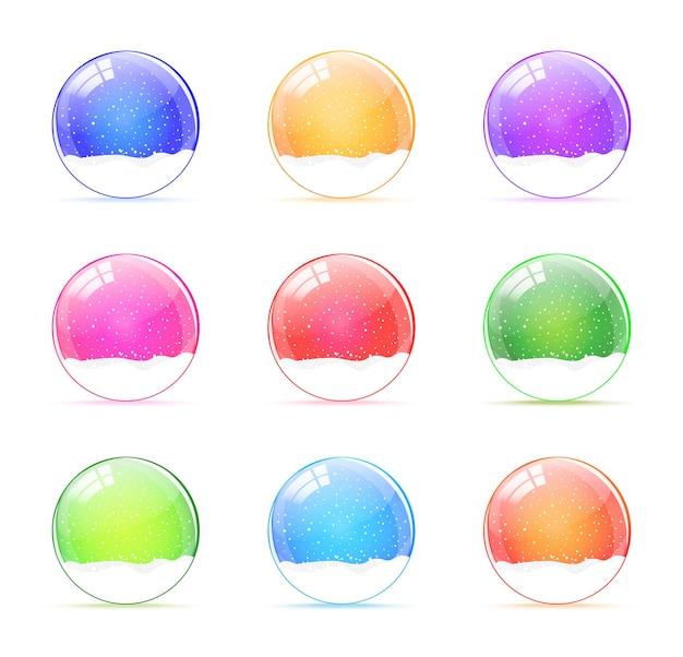 Set di globi di neve colorati