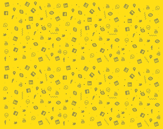 Insieme di progettazione di struttura di doodle di media sociali variopinti
