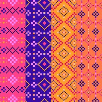 Set di pattern di songket colorati