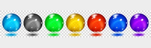 Set di sfere colorate con riflessi e ombre su sfondo trasparente