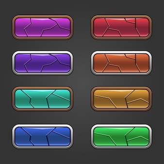 Set di quadrati colorati con pulsanti lucidi di design rotto impostati con versioni pressate.