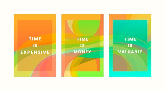 Insieme di disegni grafici di quote colorate di tempo