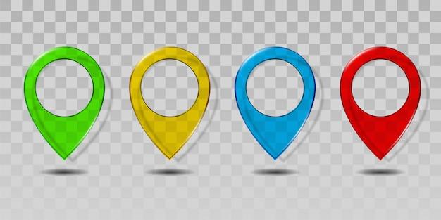 Set di icona del puntatore mappa di vetro trasparente colorato.