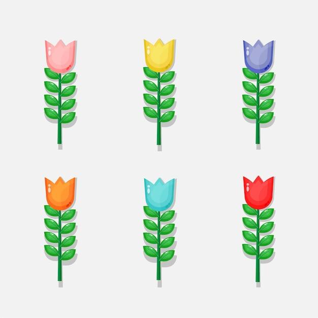 Set di design di illustrazione di tulipani colorati
