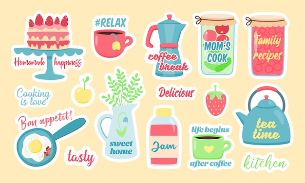 Set di adesivi colorati vettoriali di cibi e bevande fatti in casa assortiti con iscrizioni carine progettate come intimità e cura della casa