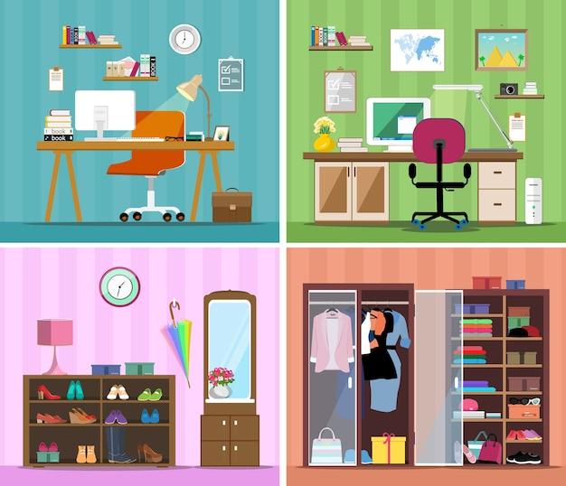 Set di vettore colorato luogo di lavoro, moderno ufficio a casa, guardaroba con vestiti, scarpe e corridoio.