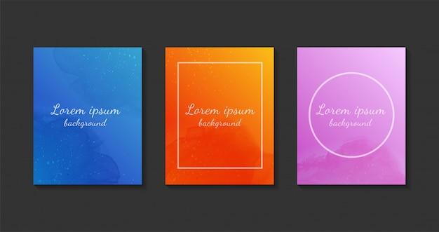 Set di modelli di sfondo colorato ad acquerello.