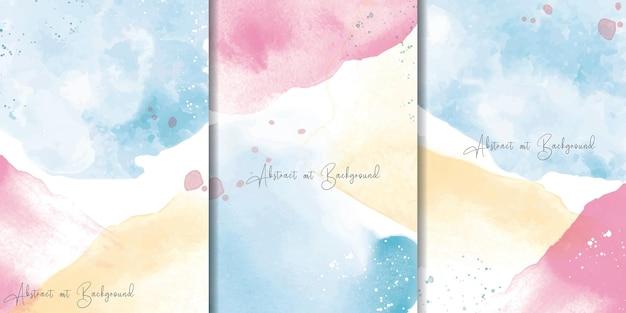 Set di sfondo colorato ad acquerello con disegno di pittura astratta fluida