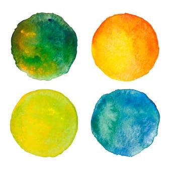 Set di cerchi colorati ad acquerello