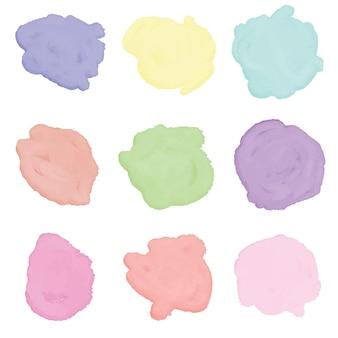 Set di design colorato con macchie di schizzi ad acquerello vettore premium