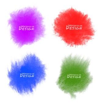 Set di schizzi ad acquerelli colorati.