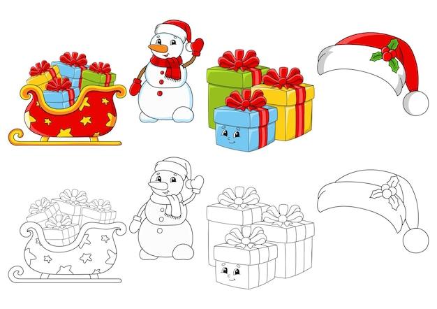 Imposta la pagina da colorare per bambini buon natale a tema