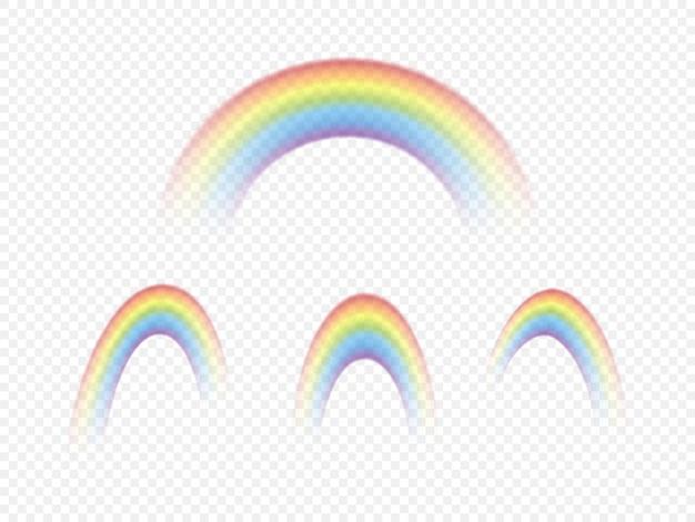 Set di arcobaleni di colore isolato su sfondo trasparente. illustrazione vettoriale.