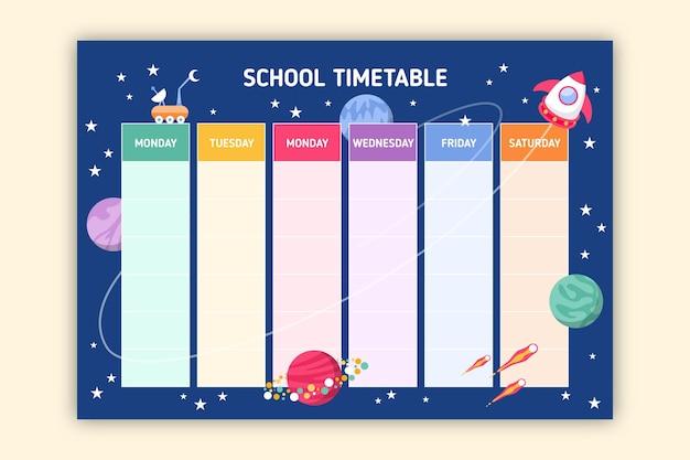 Set di colorato di nuovo all'orario scolastico