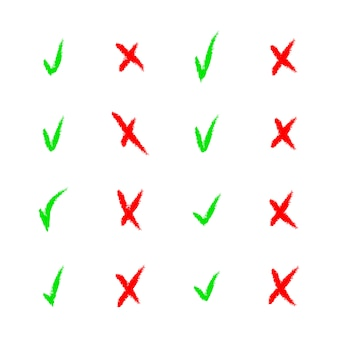 Insieme delle icone variopinte del segno di spunta e del segno di spunta su bianco