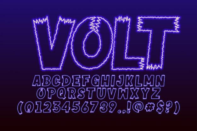 Set di alfabeto comico con effetto elettrico