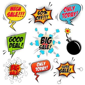 Insieme delle bolle di discorso di vendita mega stile fumetto