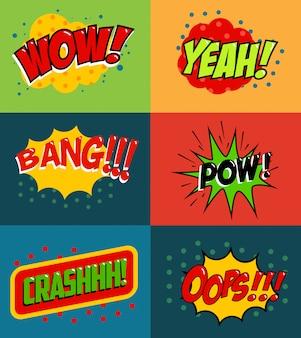 Set di frasi in stile fumetto su sfondo colorato. set di frasi in stile pop art. wow! oops! whop! elemento per poster, volantino.