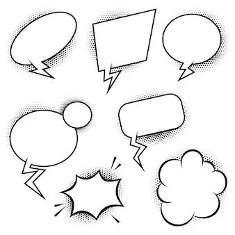 Set di palloncini di discorso in stile fumetto. elementi per poster, banner, carta. illustrazione