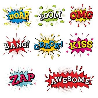 Set di testo comico in stile pop art.