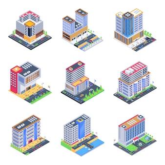 Insieme delle illustrazioni isometriche di edifici commerciali