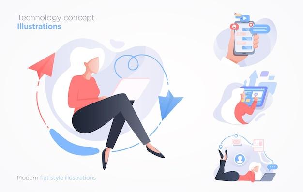 Set di scene di tecnologia di comunicazione