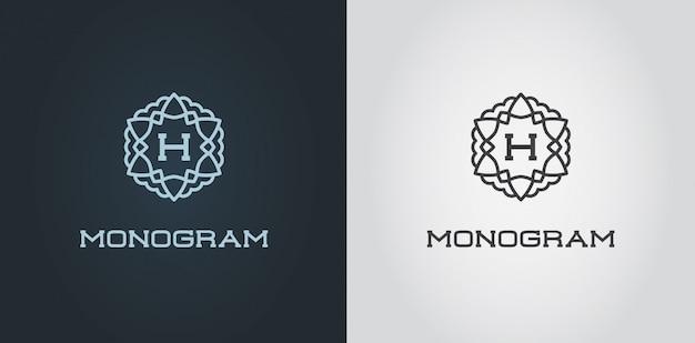 Set di modello di design monogramma compatto con lettera illustrazione premium elegante qualità
