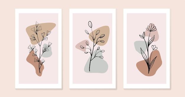 Set di composizioni con fiori e foglie. collage alla moda
