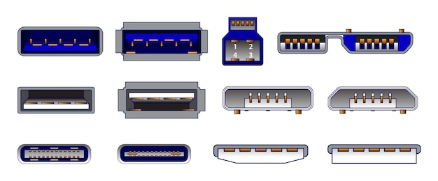 Set di connettori per computer o simboli del connettore universale usb o vari connettori usb mini