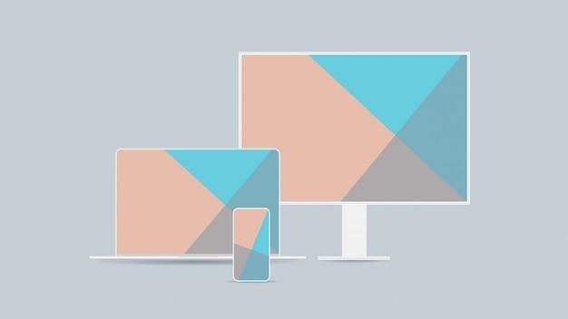 Impostare il monitor del computer laptop e smartphone con schermi colorati gadget e dispositivi realistici mockup