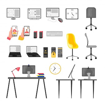 Set di computer e telefono, altoparlante, ufficio, scrivania, connessione video