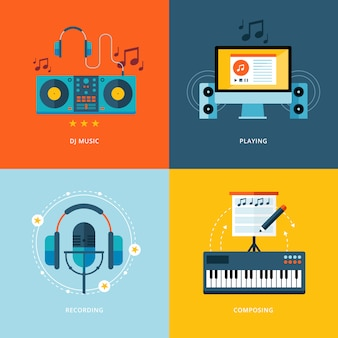 Set di icone di concetto per l'industria musicale. icone per musica da dj, suonare, registrare musica, composizione pianistica.