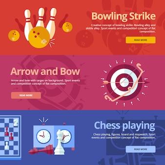 Insieme di concetti per bowling, freccia e arco, gioco degli scacchi. concetti per il web e materiali di stampa
