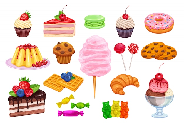 Impostare icone di pasticceria e dolci