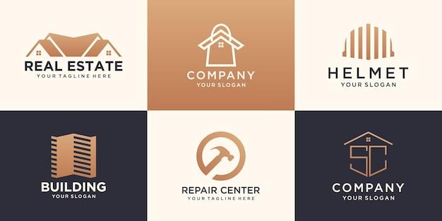 Insieme del modello di progettazione di logo di edificio di costruzione