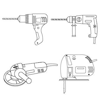 Un set di strumenti di costruzione trapano, smerigliatrice per seghetto alternativo e contorno nero del perforatore.