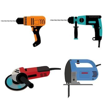 Set di strumenti di costruzione trapano elettrico e smerigliatrice per seghetto alternativo, illustrazione vettoriale isolata a colori in stile cartone animato