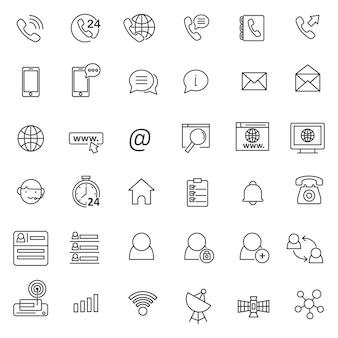 Set di icone dell'indirizzo di contatto