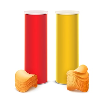 Set di contenitori per la progettazione di pacchetti con patatine