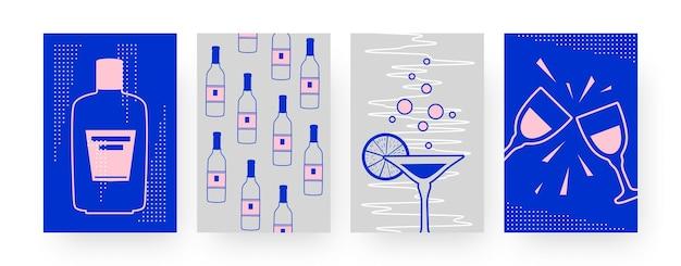 Set di poster di arte contemporanea con bottiglie di alcol. margarita, illustrazione di bicchieri tintinnanti